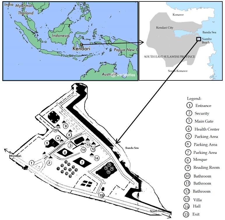 Map of Nambo Beach in Kendari City Southeast Sulawesi