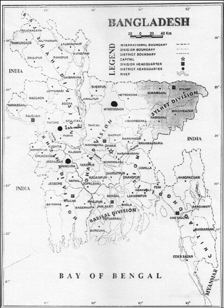 Map of Bangladesh showing the experimental sites (• Black marked)